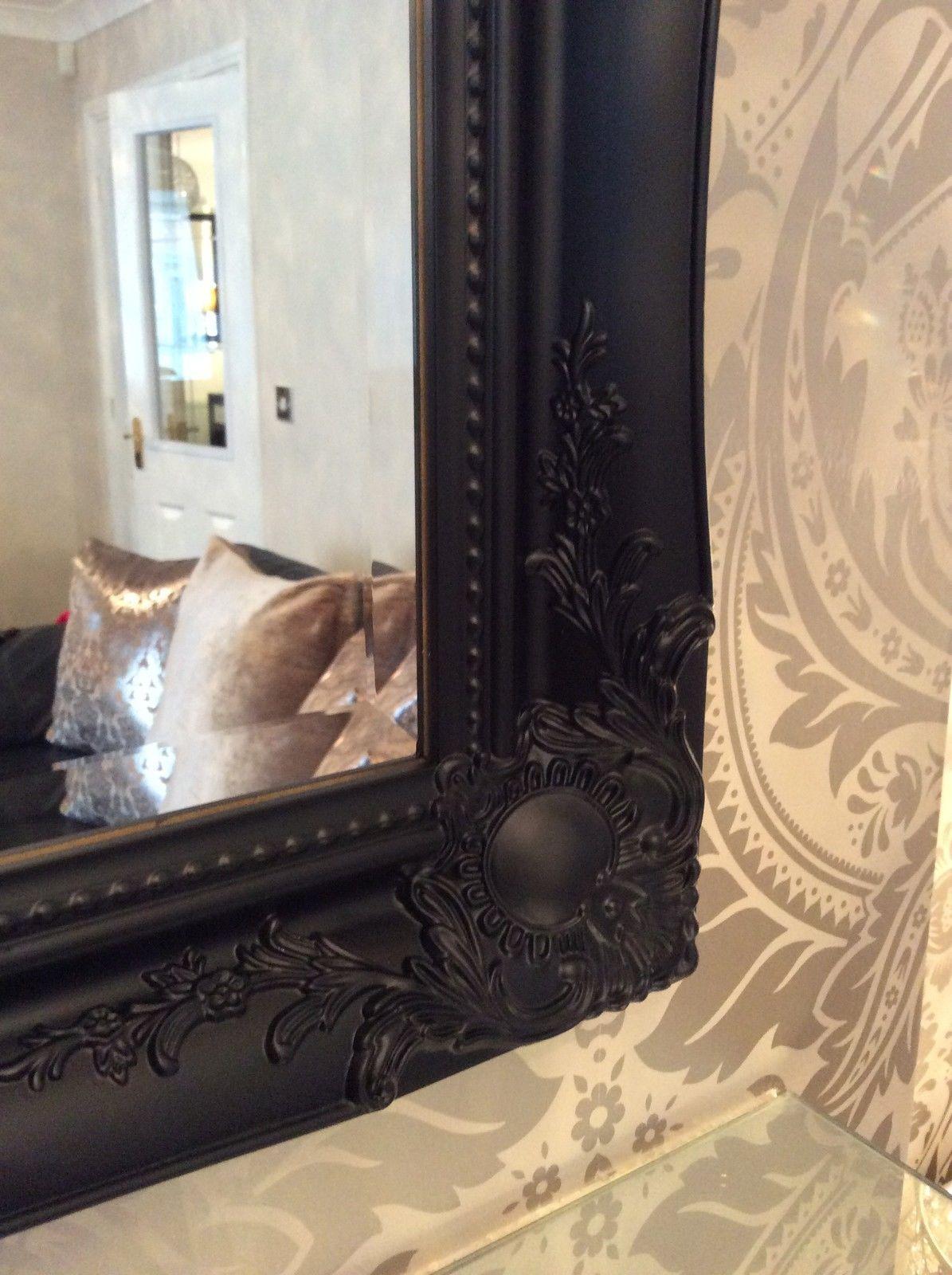 Large Black Shabby Chic Framed Ornate Overmantle Wall
